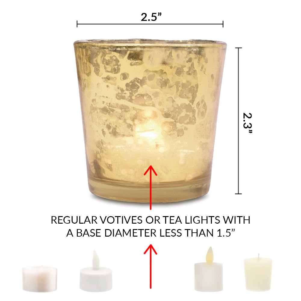 6 Pack | Lila Mercury Glass Candle Holders (6 pcs, Antique White) For Use with Tea Lights - For Home Decor, Parties and Wedding Decorations - Mercury Glass Votive Holders