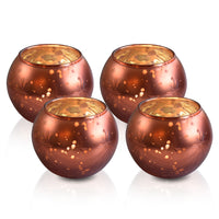 4 Pack | Mary Mercury Glass Globe Candle Holder (Rustic Copper Red, 4 pcs) For Use with Tea Lights - For Home Decor, Parties and Wedding Decorations - Mercury Glass Votive Holders