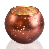 BLOWOUT Mary Mercury Glass Globe Candle Holder (Rustic Copper Red, Single) For Use with Tea Lights - For Home Decor, Parties and Wedding Decorations - Mercury Glass Votive Holders