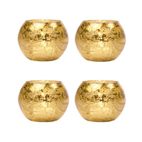 4 Pack | Vintage Mercury Glass Candle Holder (3-Inch, Mary Globe Design, Gold, 4 pcs) - For Use with Tea Lights - For Home Décor, Parties, and Wedding Decorations - Mercury Glass Votive Holders