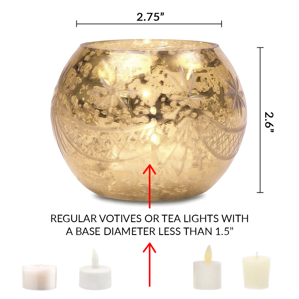 Vintage Mercury Glass Globe Holder (3-Inch, Mary Design, Gold) - For use with Tea Lights - Home Decor, Parties and Wedding Decorations - PaperLanternStore.com - Paper Lanterns, Decor, Party Lights & More