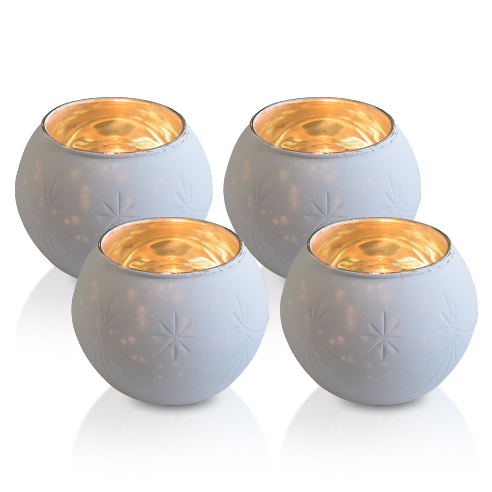 4 Pack | Vintage Mercury Glass Globe Candle Holders (3-Inch, Mary Design, Antique White) - For use with Tea Lights - Home Decor, Parties and Wedding Decorations - PaperLanternStore.com - Paper Lanterns, Decor, Party Lights & More