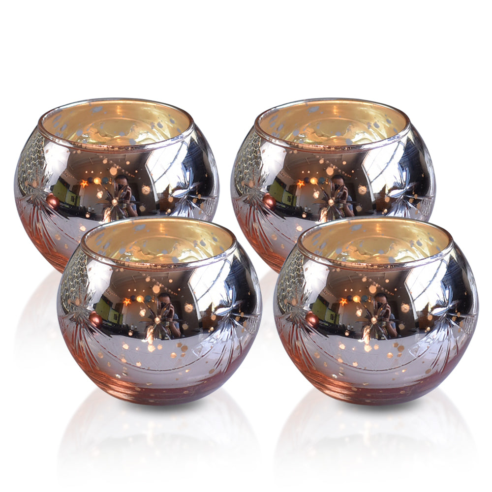 4 Pack | Mary Mercury Glass Globe Candle Holder (Rose Gold Pink,4 pcs) For Use with Tea Lights - For Home Decor, Parties and Wedding Decorations - Mercury Glass Votive Holders