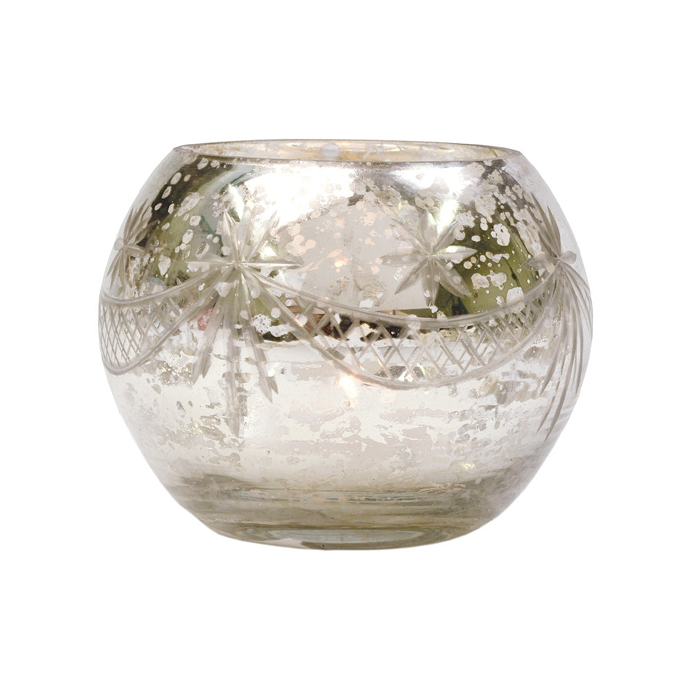 Vintage Mercury Glass Globe Holder (3-Inch, Mary Design, Silver) - For use with Tea Lights - Home Decor, Parties and Wedding Decorations - PaperLanternStore.com - Paper Lanterns, Decor, Party Lights & More
