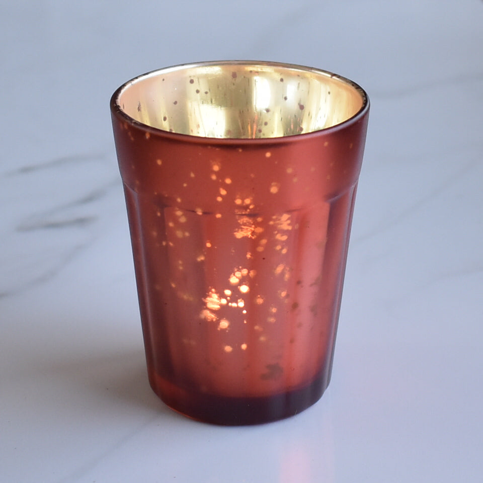 BLOWOUT 4 Pack | Vintage Mercury Glass Candle Holder (3.25-Inch, Katelyn Design, Column Motif, Rustic Copper Red) - For Use with Tea Lights
