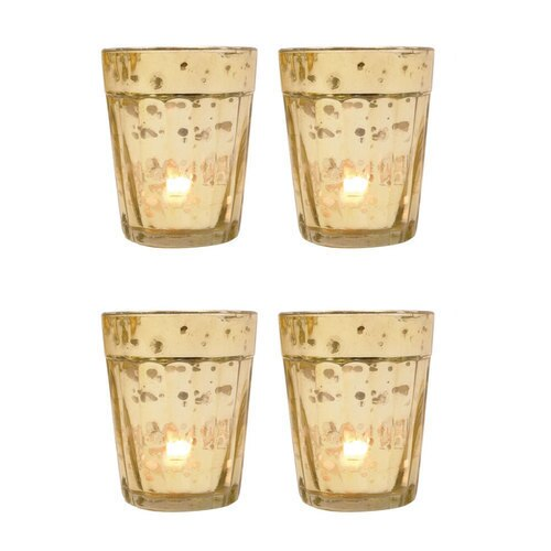 4 Pack | Vintage Mercury Glass Candle Holder (3.25-Inch, Katelyn Design, Column Motif, Gold) - For Use with Tea Lights