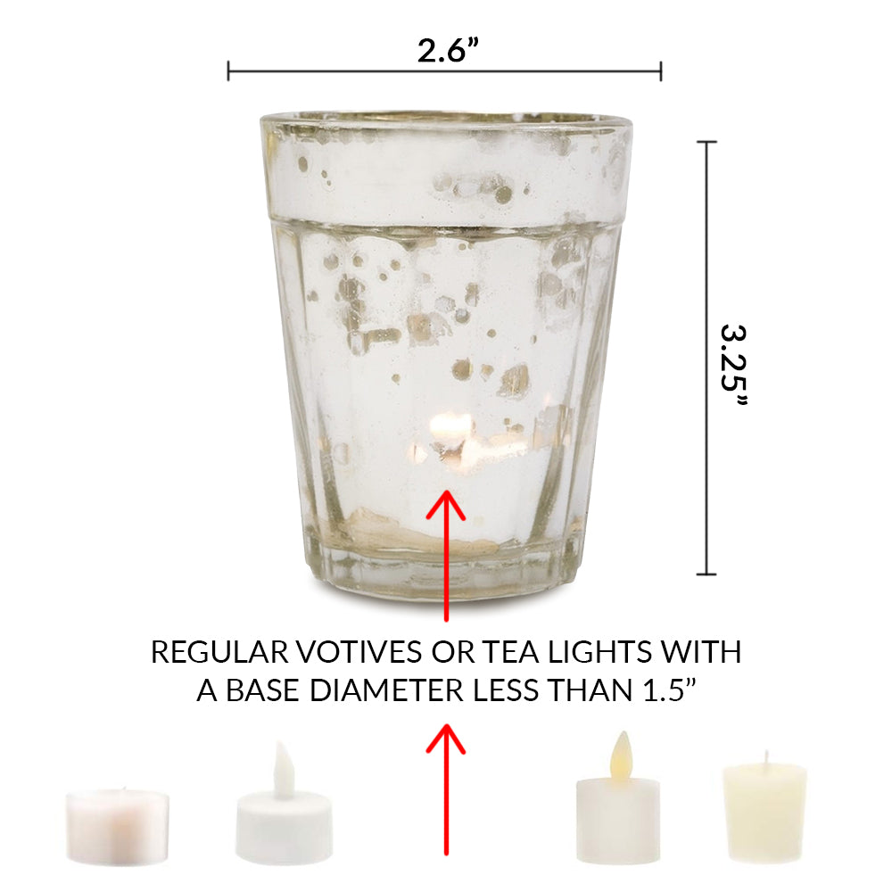 4 Pack | Vintage Mercury Glass Candle Holder (3.25-Inch, Katelyn Design, Column Motif, Antique White) - For Use with Tea Lights - For Home Decor, Parties and Wedding Decorations