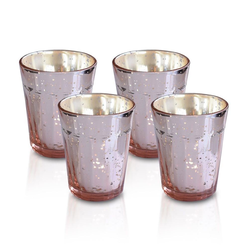 4 Pack | Vintage Mercury Glass Candle Holder (3.25-Inch, Katelyn Design, Column Motif, Rose Gold Pink) - For Use with Tea Lights - PaperLanternStore.com - Paper Lanterns, Decor, Party Lights & More