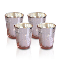4 Pack | Vintage Mercury Glass Candle Holder (3.25-Inch, Katelyn Design, Column Motif, Rose Gold Pink) - For Use with Tea Lights