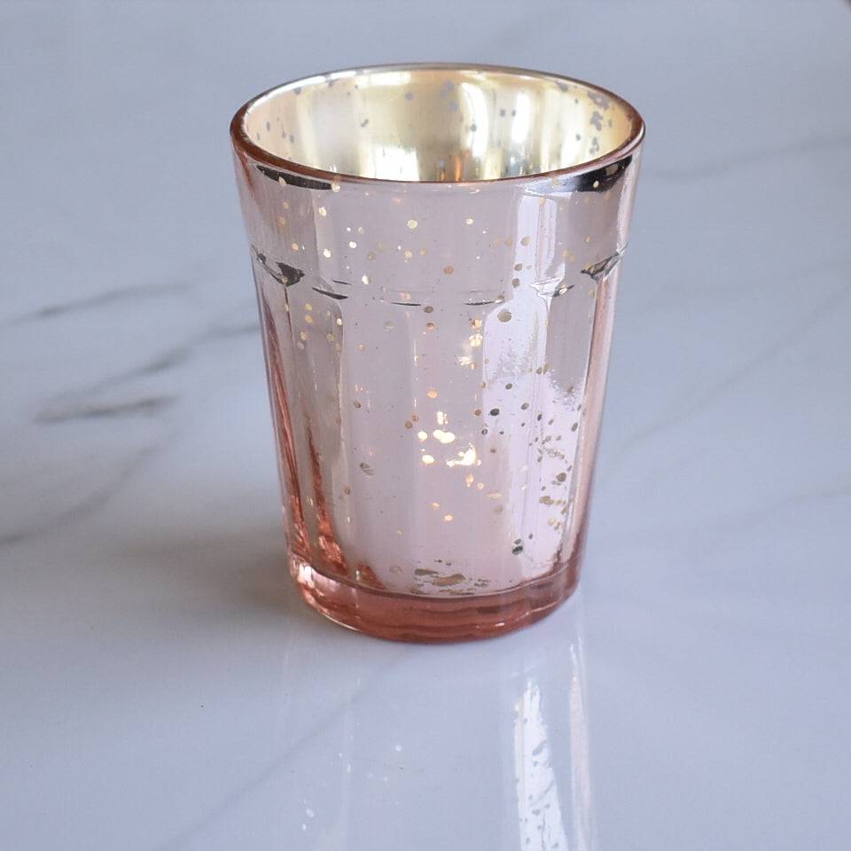 BLOWOUT Vintage Mercury Glass Candle Holder (3.25-Inch, Katelyn Design, Column Motif, Rose Gold Pink) - Use with Tea Lights - Home and Wedding Decorations