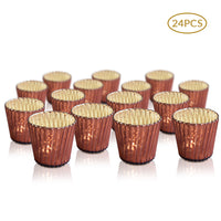24 Pack | Vintage Mercury Glass Candle Holders (3-Inch, Caroline Design, Vertical Motif, Rustic Red Copper) - For Use with Tea Lights