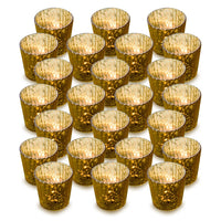 24 Pack | Vintage Mercury Glass Candle Holders (3-Inch, Caroline Design, Vertical Motif, Gold) - For Use with Tea Lights