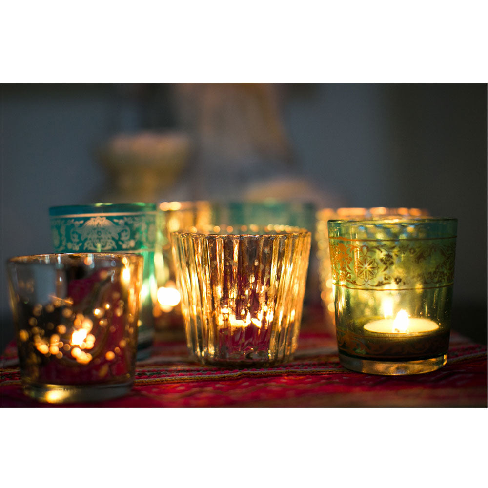 4 Pack | Vintage Mercury Glass Candle Holders (3-Inch, Caroline Design, Vertical Motif, Gold) - For use with Tea Lights - Home Decor, Parties and Wedding Decorations