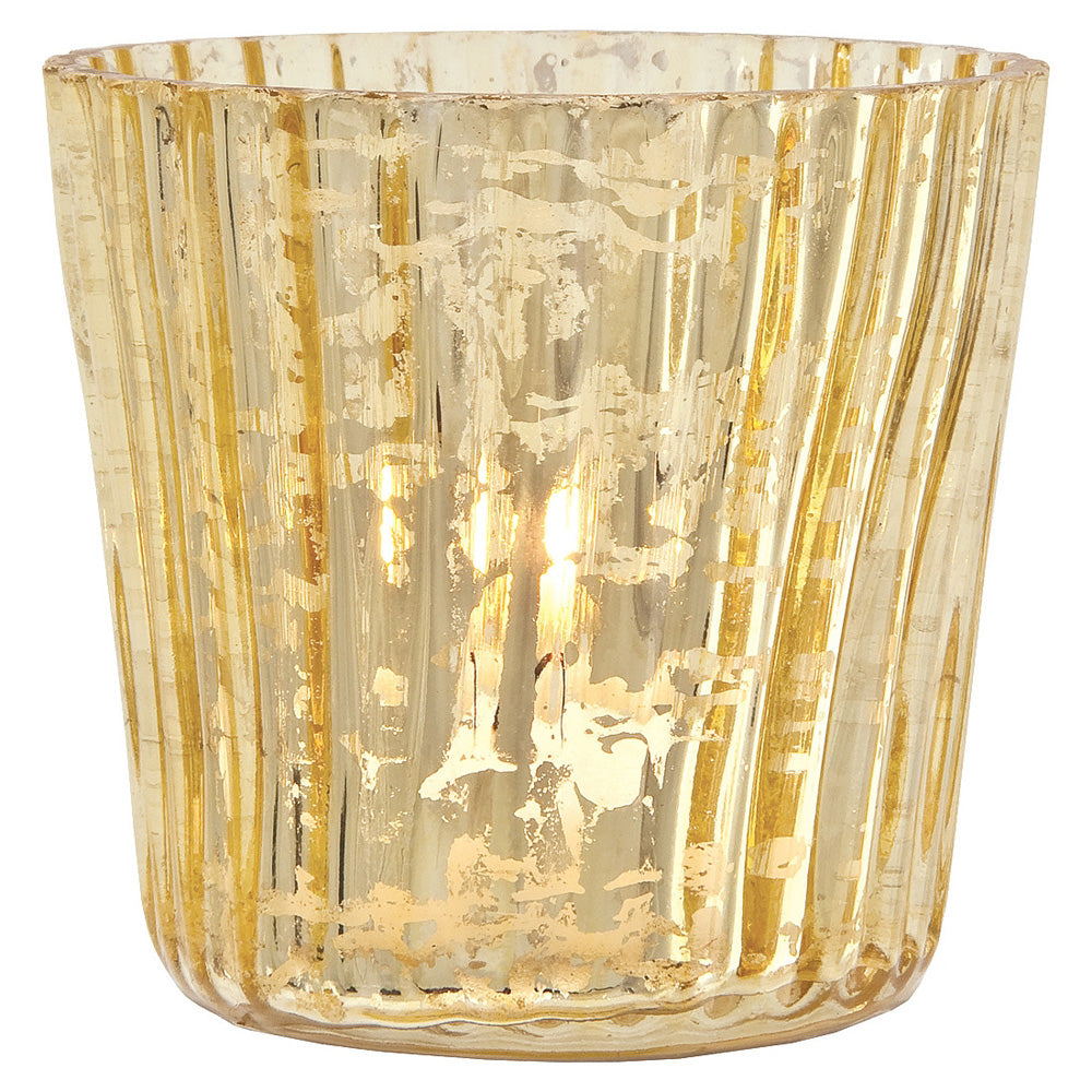 4 Pack | Vintage Mercury Glass Candle Holders (3-Inch, Caroline Design, Vertical Motif, Gold) - For use with Tea Lights - Home Decor, Parties and Wedding Decorations - PaperLanternStore.com - Paper Lanterns, Decor, Party Lights & More