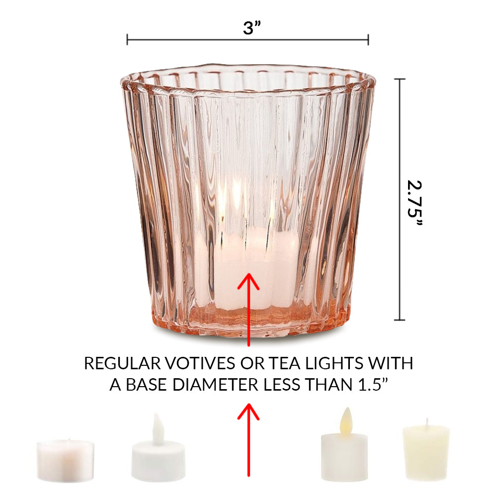 4 Pack | Vintage Mercury Glass Candle Holders (3-Inch, Caroline Design, Vertical Motif, Antique White) - For use with Tea Lights - Home Decor, Parties and Wedding Decorations