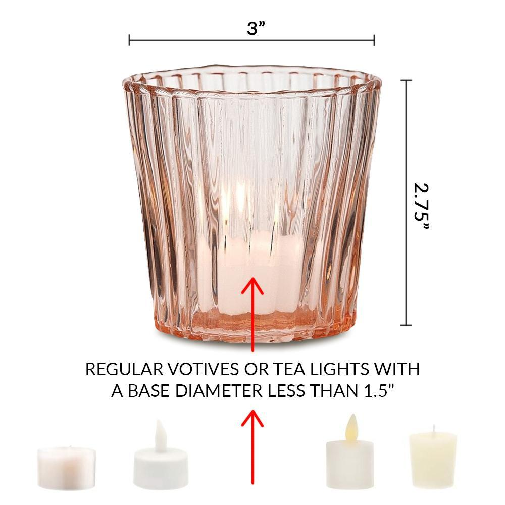 Vintage Mercury Glass Candle Holder (3-Inch, Caroline Design, Vertical Motif, Pearl White) - For use with Tea Lights - Home Decor, Parties and Wedding Decorations - PaperLanternStore.com - Paper Lanterns, Decor, Party Lights & More