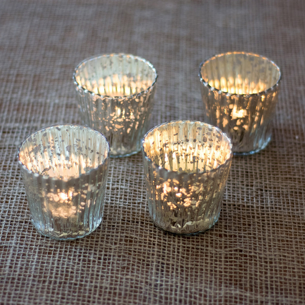 4 Pack | Vintage Mercury Glass Candle Holders (3-Inch, Caroline Design, Vertical Motif, Silver) - For use with Tea Lights - Home Decor, Parties and Wedding Decorations - PaperLanternStore.com - Paper Lanterns, Decor, Party Lights & More