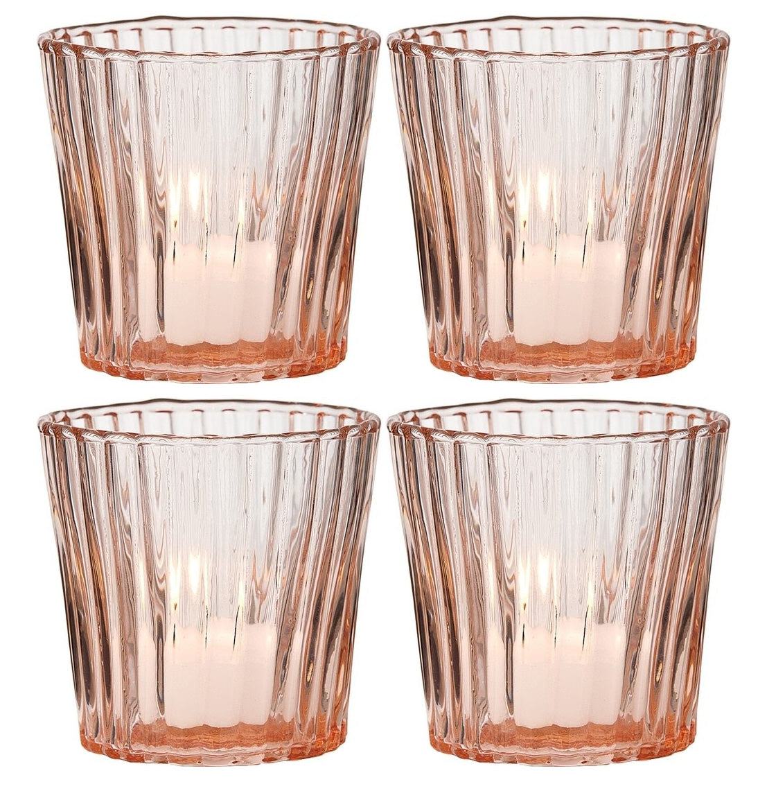 4 Pack | Vintage Glass Candle Holder (3-Inch, Caroline Design, Vertical Motif, Vintage Pink) - For Use with Tea Lights
