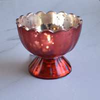 6 Pack | Vintage Mercury Glass Chalice Candle Holders (3-Inch, Suzanne Design, Sundae Cup Motif, Rustic Copper Red) - For Use with Tea Lights - For Home Decor, Parties and Wedding Decorations