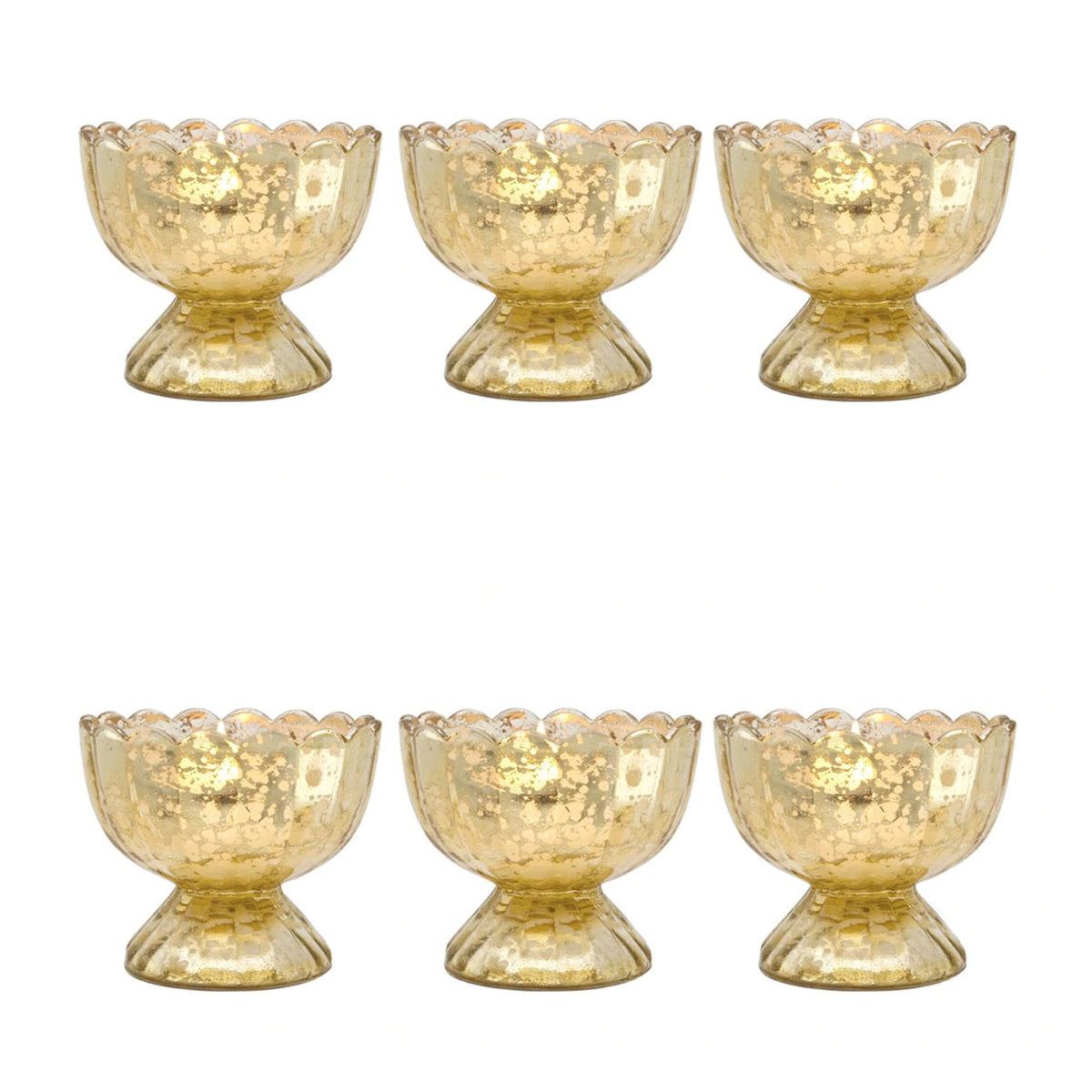6 Pack | Vintage Mercury Glass Chalice Candle Holders (3-Inch, Suzanne Design, Sundae Cup Motif, Gold) - For Use with Tea Lights - PaperLanternStore.com - Paper Lanterns, Decor, Party Lights & More