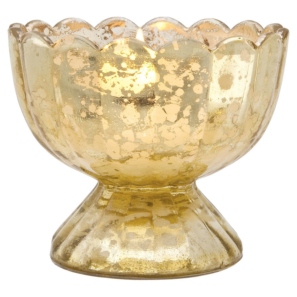 Vintage Mercury Glass Candle Holder (3-Inch, Suzanne Design, Sundae Cup Motif, Gold) - For Use with Tea Lights - Home Decor and Wedding Decorations - PaperLanternStore.com - Paper Lanterns, Decor, Party Lights & More