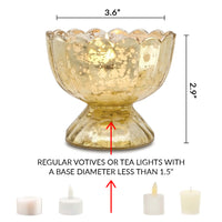 6 Pack | Suzanne Mercury Glass Chalice Candle Holder - Antique White For Use with Tea Lights - For Home Decor, Parties and Wedding Decorations - Mercury Glass Votive Holders