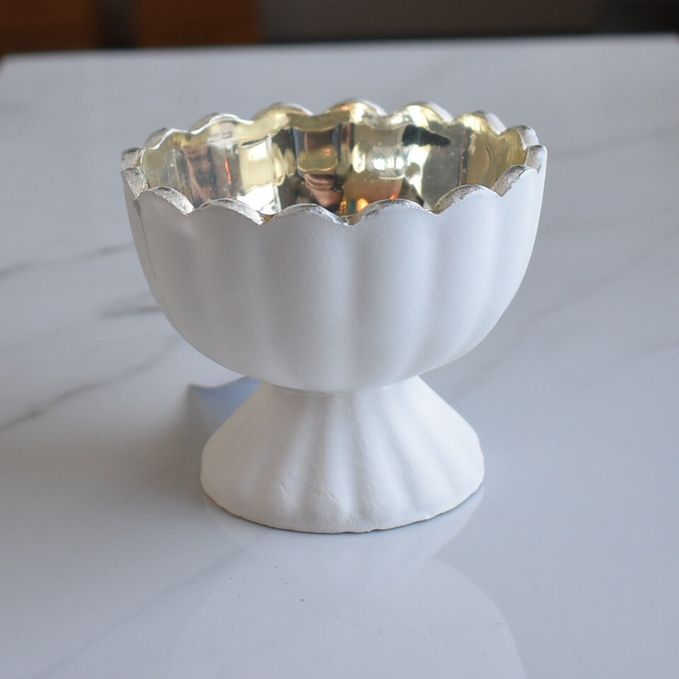 Suzanne Mercury Glass Chalice Candle Holder - Antique White For Use with Tea Lights - For Home Decor, Parties and Wedding Decorations - Mercury Glass Votive Holders
