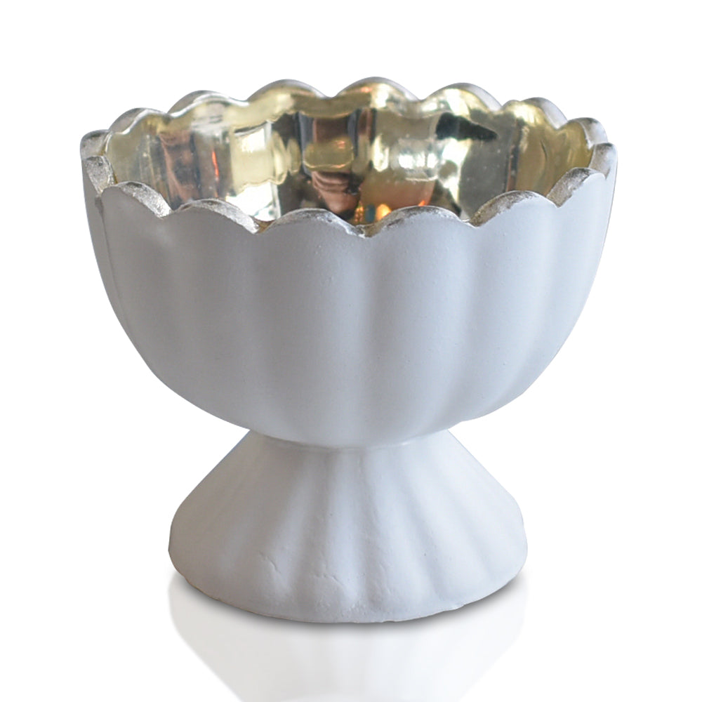 Vintage Mercury Glass Candle Holder (3-Inch, Suzanne Design, Sundae Cup Motif, Antique White) - For Use with Tea Lights - Home Decor and Wedding Decorations - PaperLanternStore.com - Paper Lanterns, Decor, Party Lights & More