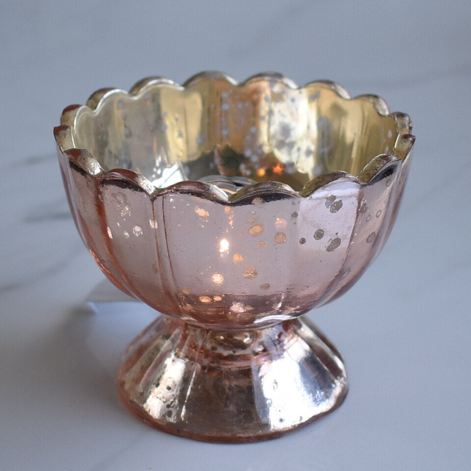 Vintage Mercury Glass Candle Holder (3-Inch, Suzanne Design, Sundae Cup Motif, Rose Gold Pink) - For Use with Tea Lights - Home Decor and Wedding Decorations - PaperLanternStore.com - Paper Lanterns, Decor, Party Lights & More