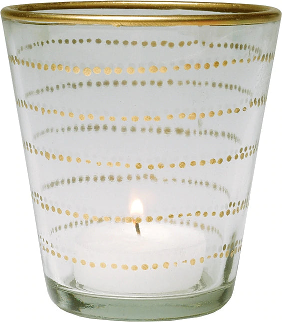 BLOWOUT Gilded Horizontal Accent Glass Candle Holder (3.5-Inch, Vanessa Design, Clear) - Use with Tea Lights - Home Decor, Parties, and Wedding Decorations
