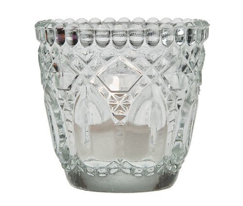 Vintage Glass Candle Holder (2.75-Inch, Lillian Design, Clear, Single) - For Use with Tea Lights - For Home Decor, Parties, and Wedding Decorations