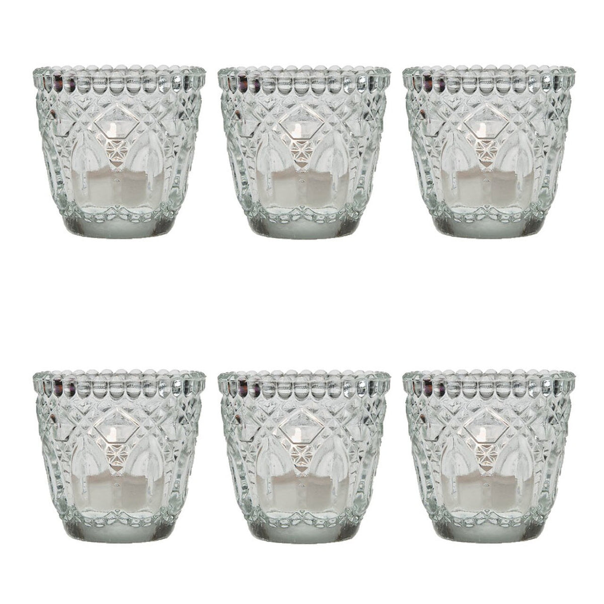6 Pack | Faceted Vintage Glass Candle Holders (2.75-Inch, Lillian Design, Clear) - Use with Tea Lights - For Home Decor, Parties and Wedding Decorations - PaperLanternStore.com - Paper Lanterns, Decor, Party Lights & More