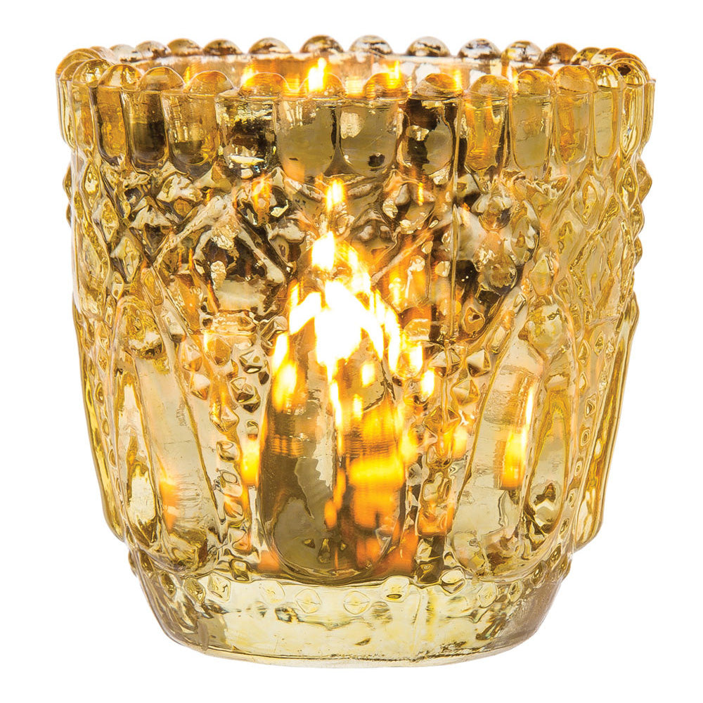 6 Pack | Lillian Faceted Vintage Glass Candle Holders (Gold) For Use with Tea Lights - For Home Decor, Parties and Wedding Decorations - Mercury Glass Votive Holders