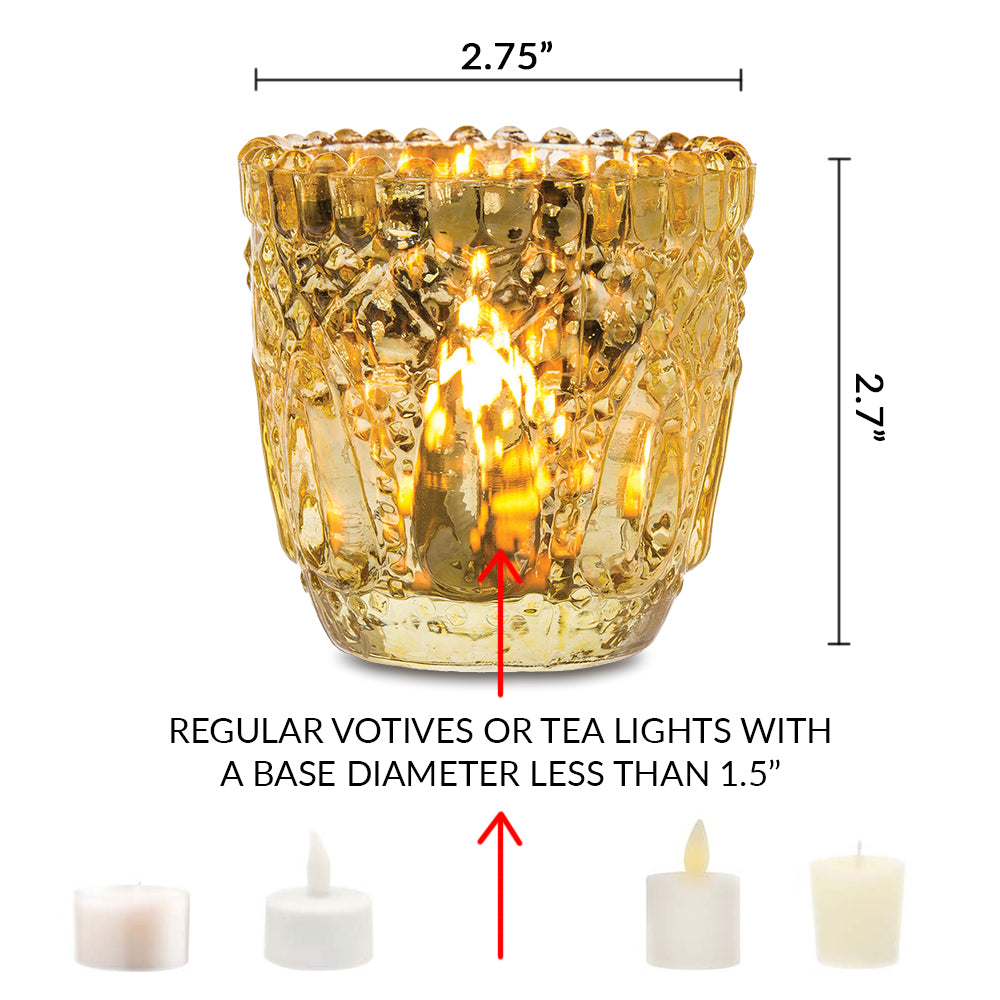 6 Pack | Faceted Vintage Mercury Glass Candle Holders (2.75-Inch, Lillian Design, Gold) - Use with Tea Lights - For Home Decor, Parties and Wedding Decorations - PaperLanternStore.com - Paper Lanterns, Decor, Party Lights & More