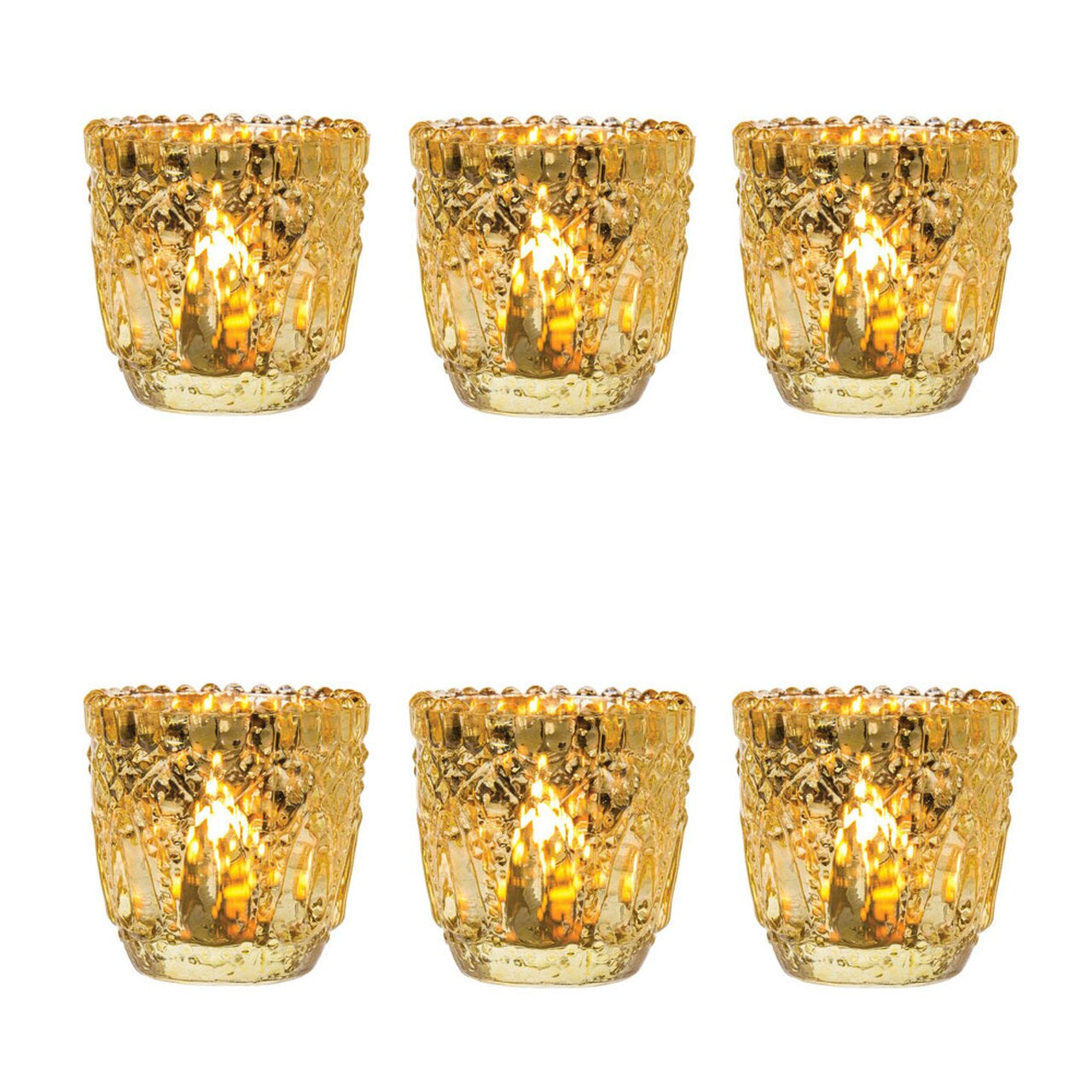 6 Pack Lillian Faceted Vintage Glass Candle Holders Gold For Use With Tea Lights