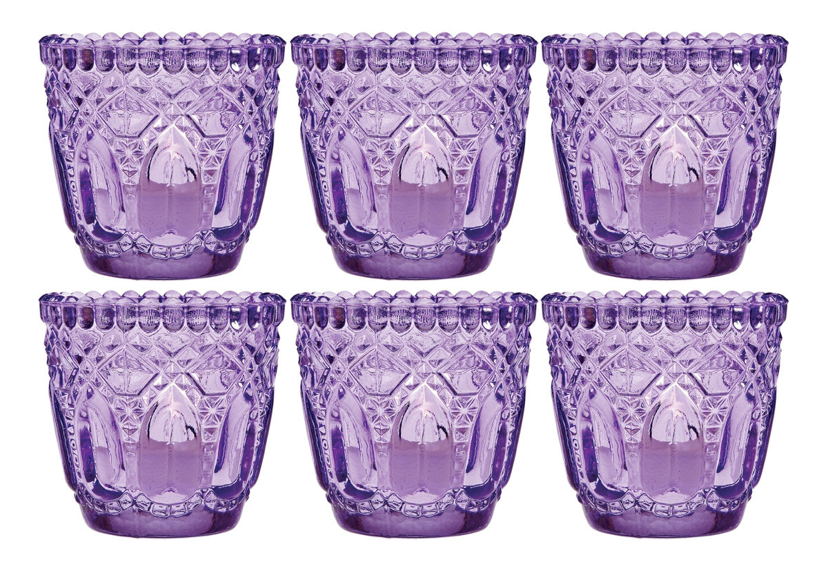 6 Pack Lillian Faceted Vintage Glass Candle Holders Light Purple For Use With Tea Lights