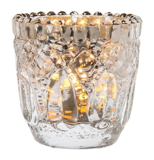 BLOWOUT Lillian Faceted Vintage Glass Candle Holders (Silver, Single) For Use with Tea Lights - For Home Decor, Parties and Wedding Decorations