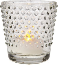Glass Candle Holder (2.5-Inch, Candace Design, Hobnail Motif, Clear) - For Use with Tea Lights - For Home Decor, Parties, and Wedding Decorations