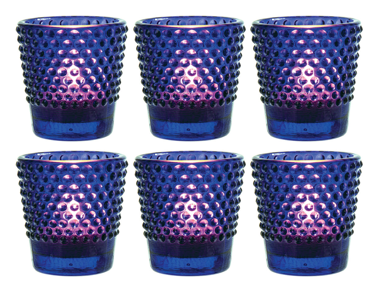 6 Pack | Glass Candle Holder (2.5-Inch, Candace Design, Hobnail Motif, Cobalt Blue) - For Use with Tea Lights