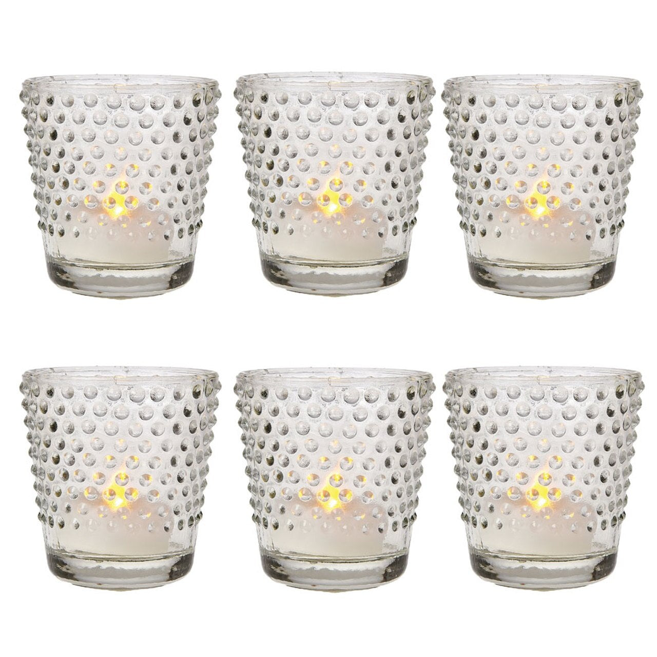 6 Pack | Glass Candle Holder (2.5-Inch, Candace Design, Hobnail Motif, Clear) - Use with Tea Lights - For Home Decor, Parties, and Wedding Decorations