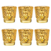 6 Pack | Hobnail Vintage Mercury Glass Glass Candle Holders (2.5-Inch, Candace Design, Gold) - For Use with Tea Lights - For Home Decor, Parties, and Wedding Decorations
