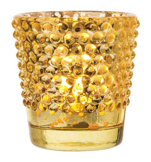 Hobnail Vintage Mercury Glass Candle Holder (2.5-Inch, Candace Design, Gold) - For Use with Tea Lights - For Home Decor, Parties and Wedding Decorations - PaperLanternStore.com - Paper Lanterns, Decor, Party Lights & More