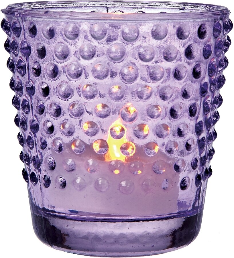 BLOWOUT Hobnail Vintage Glass Candle Holder (2.5-Inch, Candace Design, Light Purple) - For Use with Tea Lights - For Home Decor, Parties, and Wedding Decorations