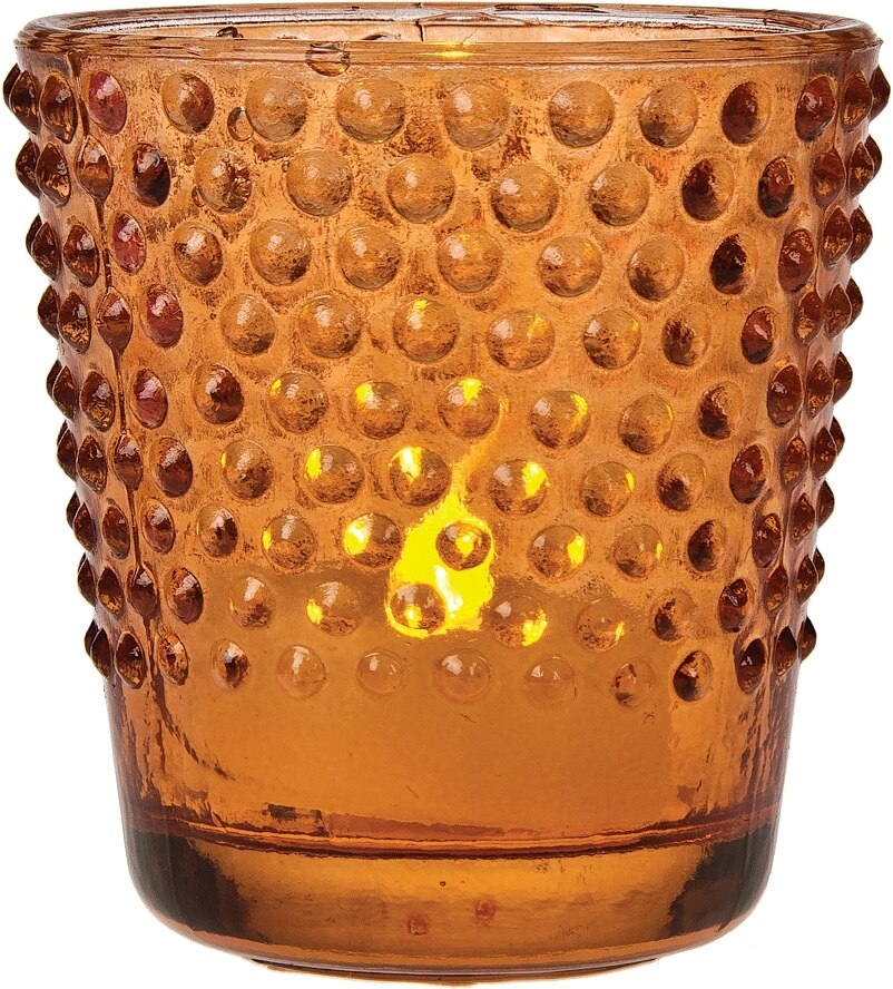 Vintage Glass Glass Candle Holder (2.5-Inch, Candace Design, Hobnail Motif, Mango Orange, Single) - For Use with Tea Lights - For Home Decor, Parties, and Wedding Decorations