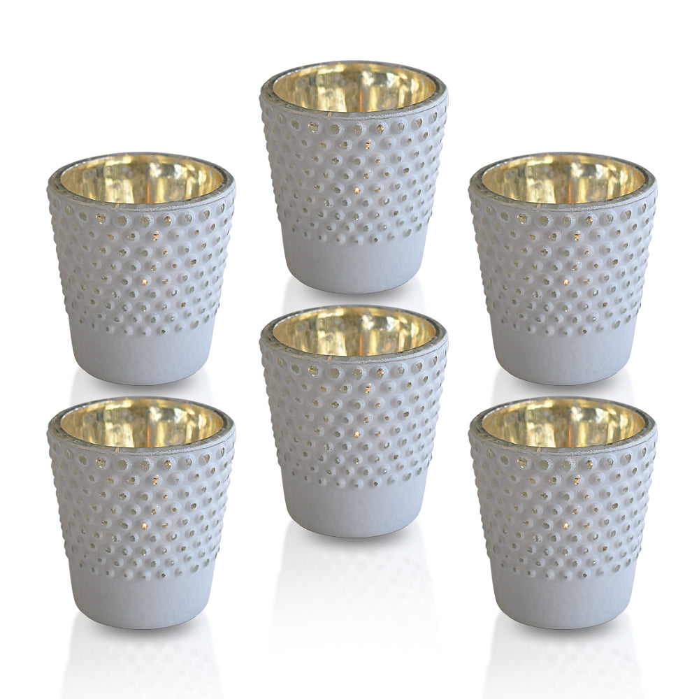 6 Pack | Candace Hobnail Design Glass Candle Holder (Set of 6, Antique White) For Use with Tea Lights