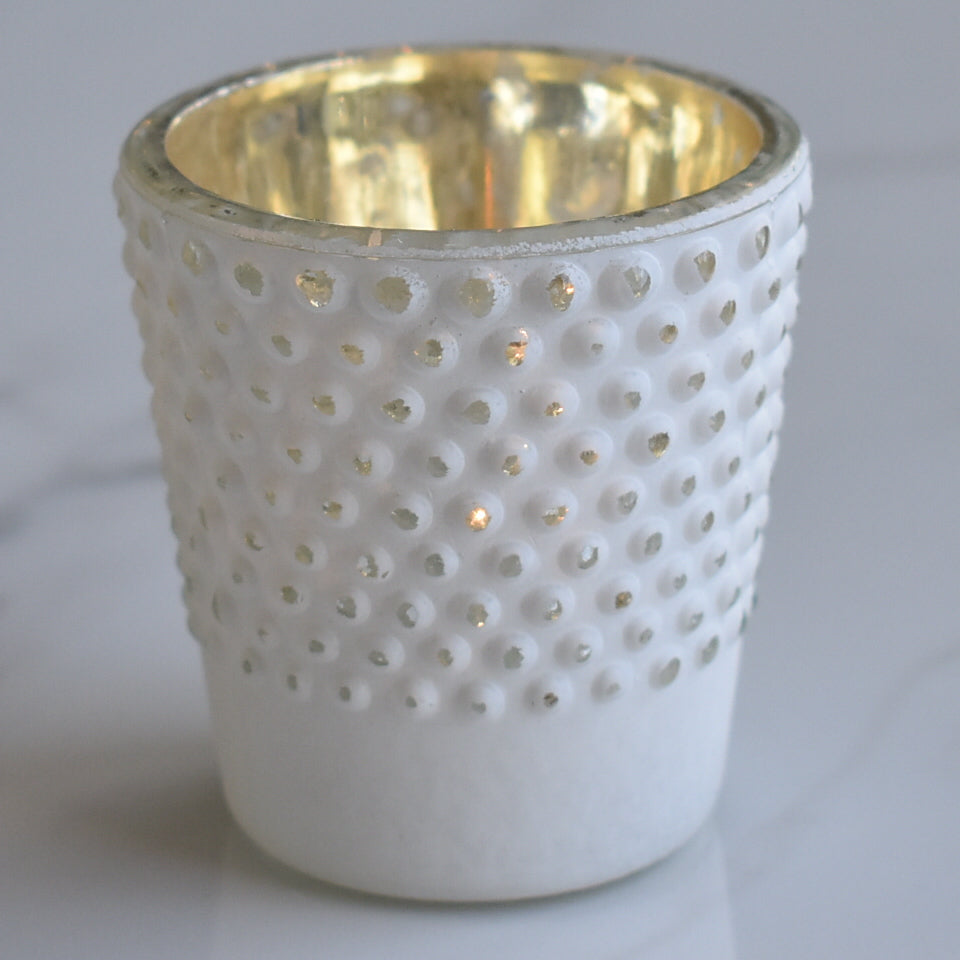 Candace Hobnail Design Glass Candle Holder - Antique White For Use with Tea Lights