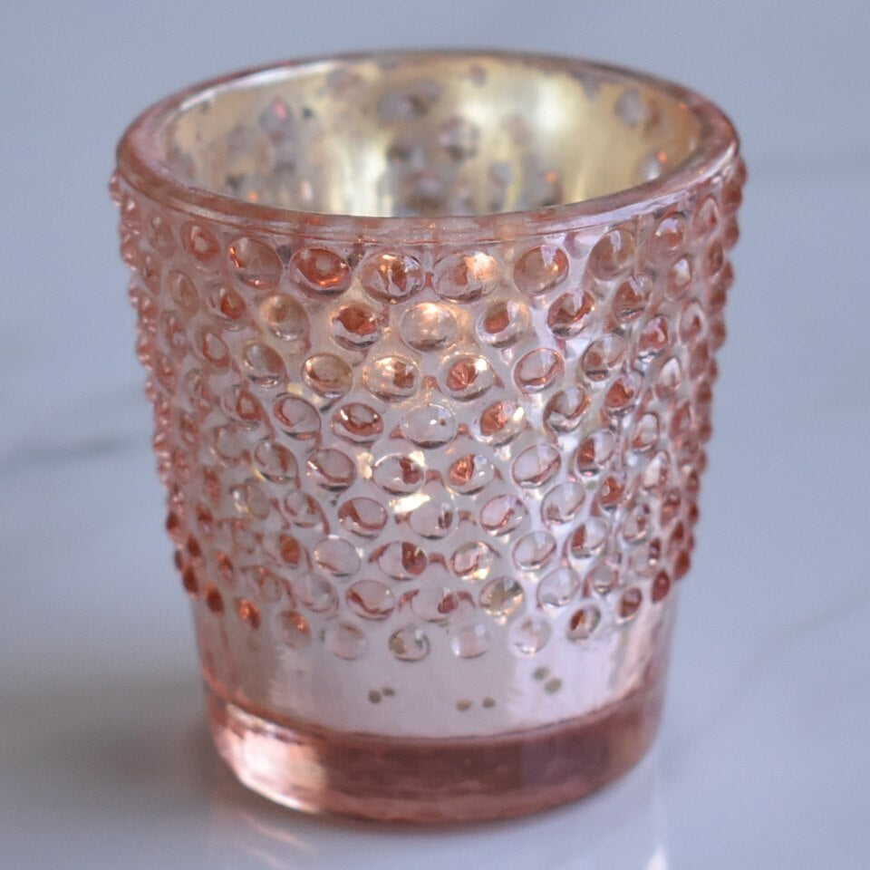Hobnail Design Mercury Glass Candle Holder (2.25-Inch, Candace Design, Rose Gold Pink, Single) - For Use with Tea Lights - For Home Decor, Parties and Wedding Decorations - PaperLanternStore.com - Paper Lanterns, Decor, Party Lights & More