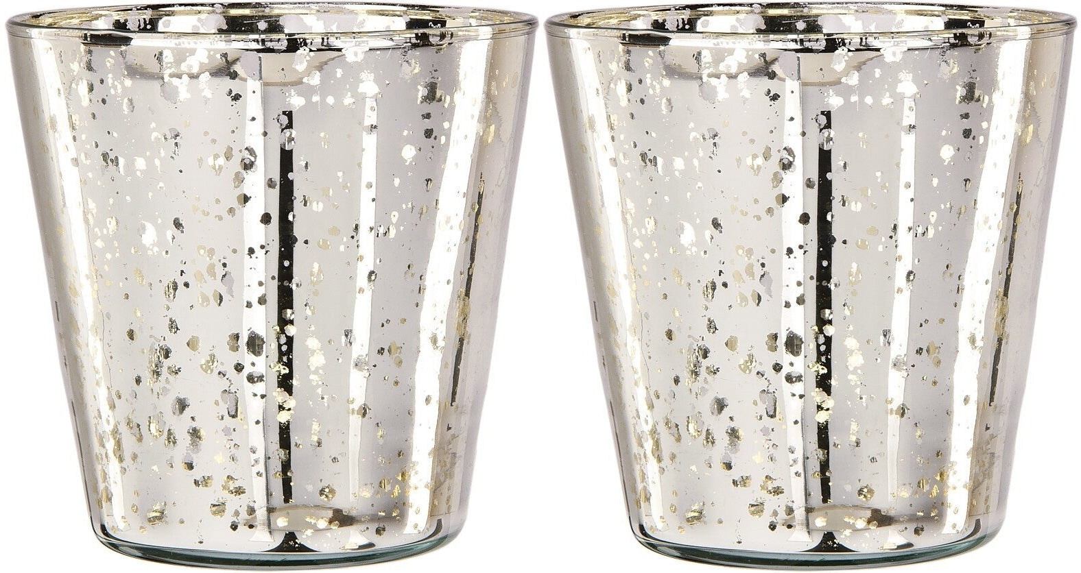 BLOWOUT 2 PACK | Vintage Mercury Glass Candle Holder (4-Inch, Jenna Design Cup, Silver) - Decorative Candle Holder - For Home Decor, Parties and Wedding Decorations