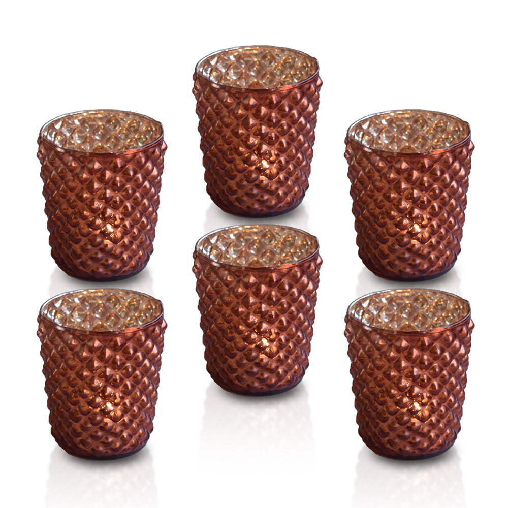 6 Pack | Vintage Mercury Glass Tealight Holders (2.5-Inch, Zariah Design, Rustic Copper Red) - For Use with Tea Lights - For Home Decor, Parties and Wedding Decorations