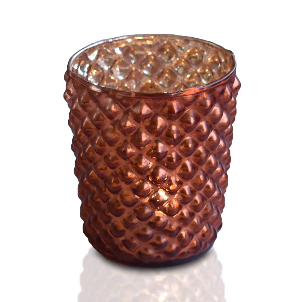 Mercury Glass Tealight Holder (3-Inch, Zariah Design, Rustic Copper Red) - For Use with Tea Lights - For Home Decor, Parties and Wedding Decorations - PaperLanternStore.com - Paper Lanterns, Decor, Party Lights & More